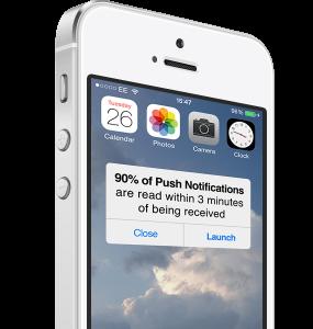 iphone showing push notification